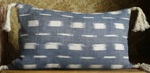 Indigo Flamme Cushion with Tassels