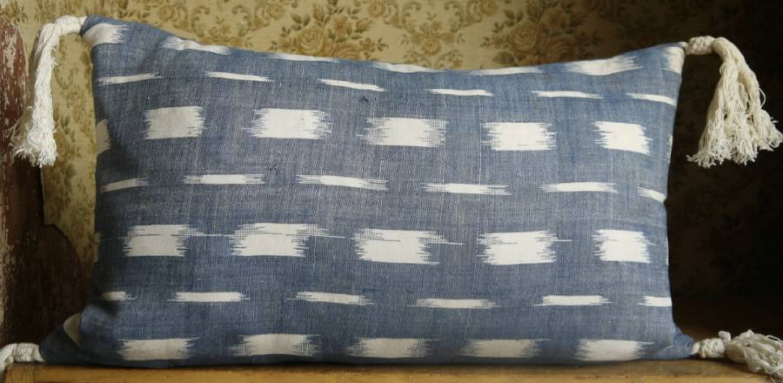 Indigo Flamme Cushion with Tassels