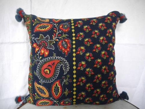 Indigo and Red Cushion