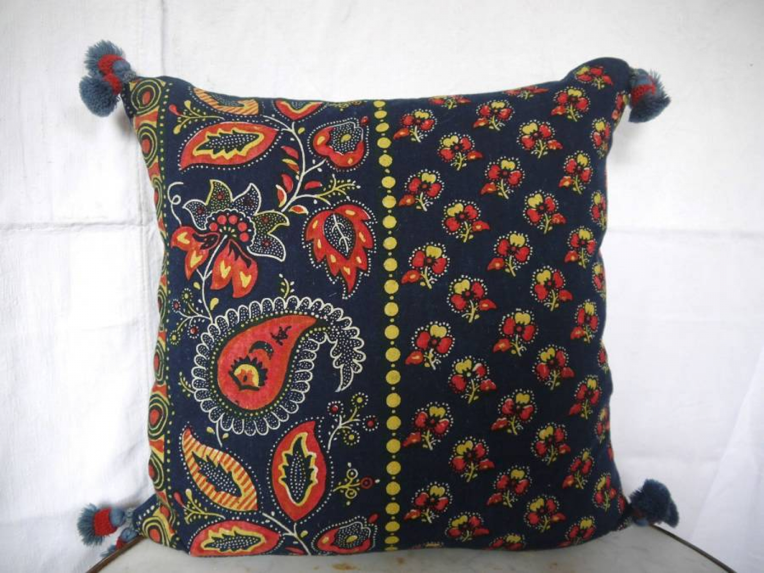 Indigo and Red Cushion