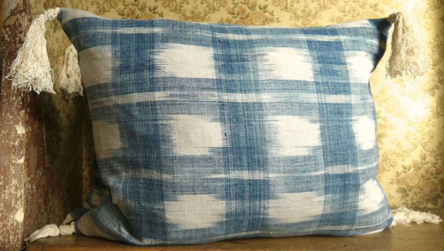 Faded Indigo Flamme Cushion
