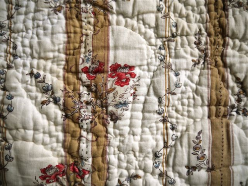 18th century French block printed quilt