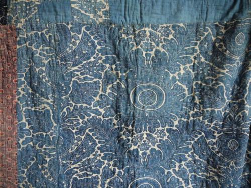 Faded indigo Toile de Rouen quilt