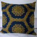 19th Century French Empire Indigo and Saffron Cushion - picture 1