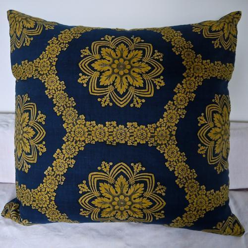 19th Century French Empire Indigo and Saffron Cushion