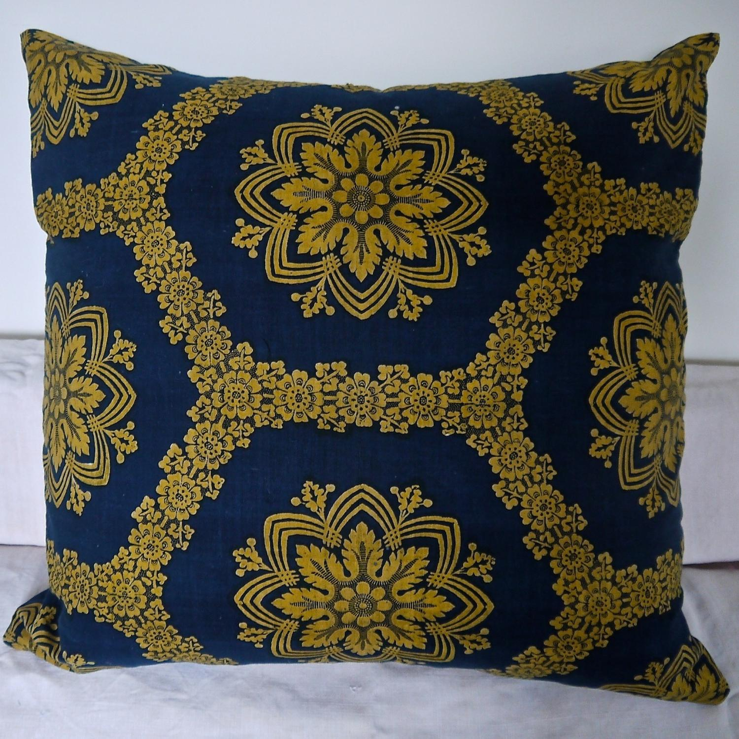 19th Century French Empire Indigo and Saffron Cushion