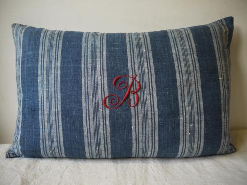 Monogrammed 19thc Indigo Striped Cushion