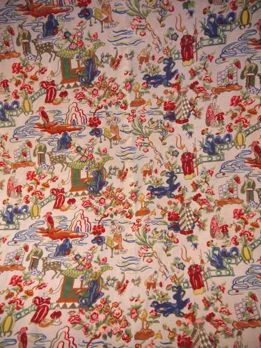 Vintage French Printed Cotton Chinoiserie
