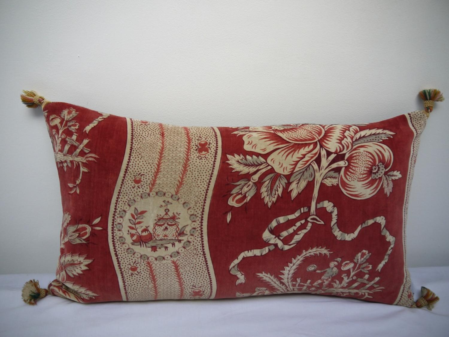 19th century French Printed Velvet Cushion