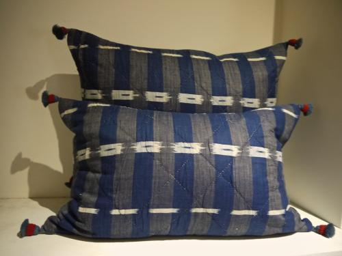 Pair of 19thc French Indigo Flamme Cushions