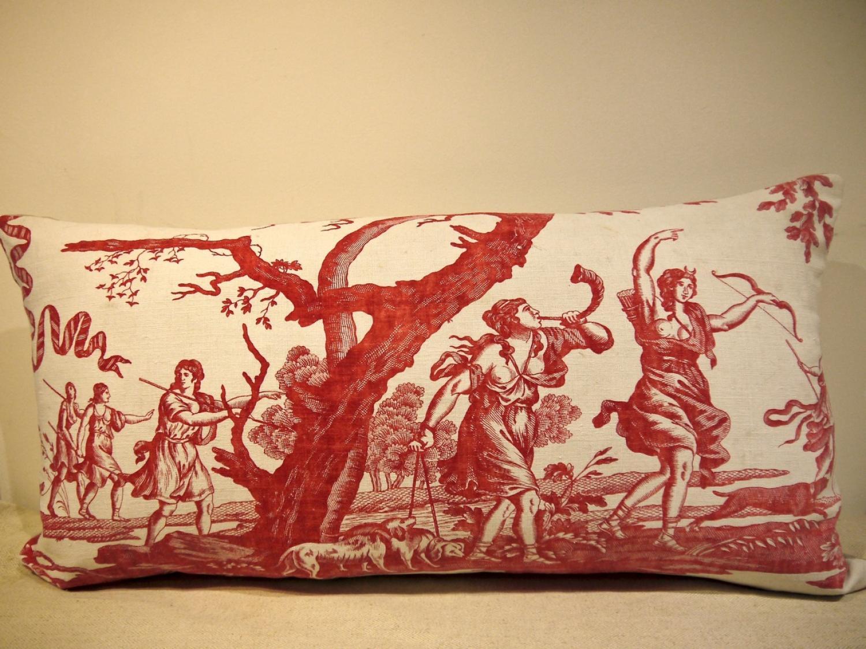 18thc French Toile de Nantes 'Diane' Cushion