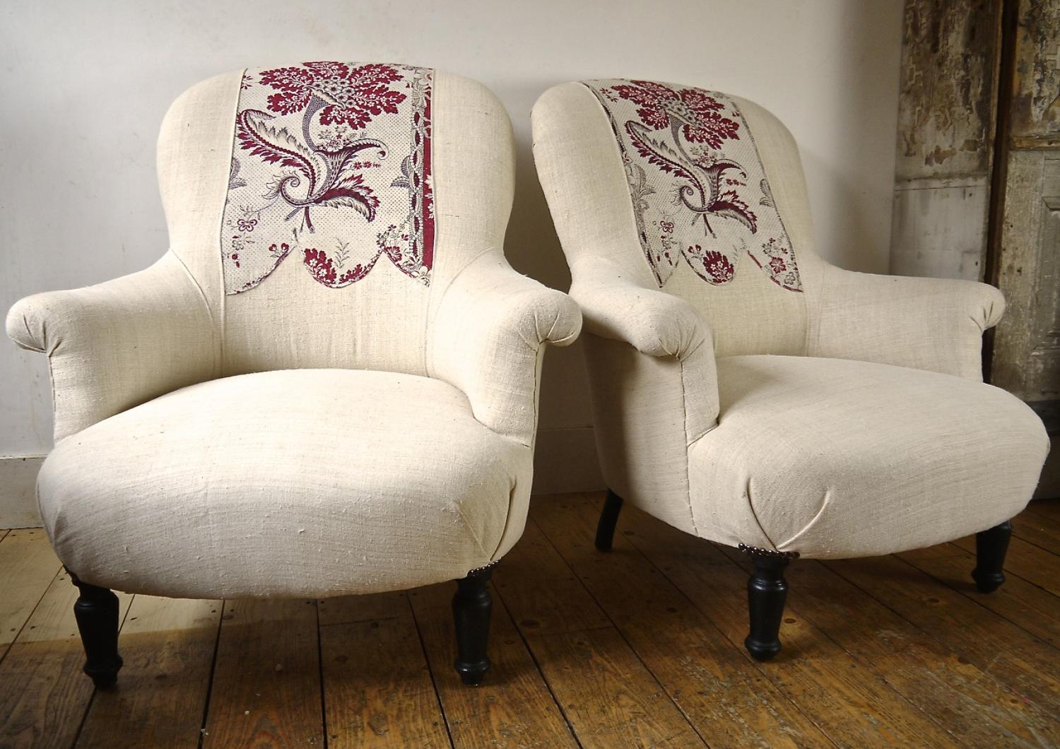Pair of Napoleon III Chairs with Print Detail