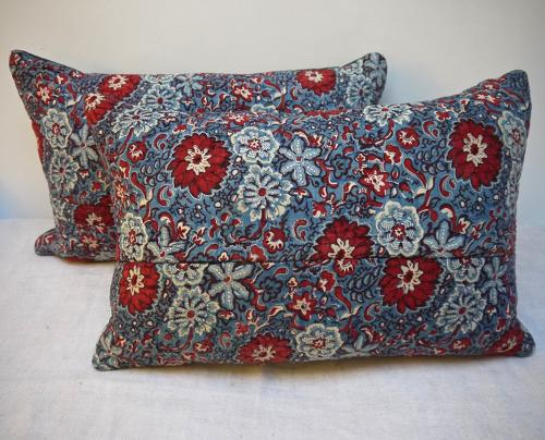 Pair of Red and Blue Blockprinted  Cushions