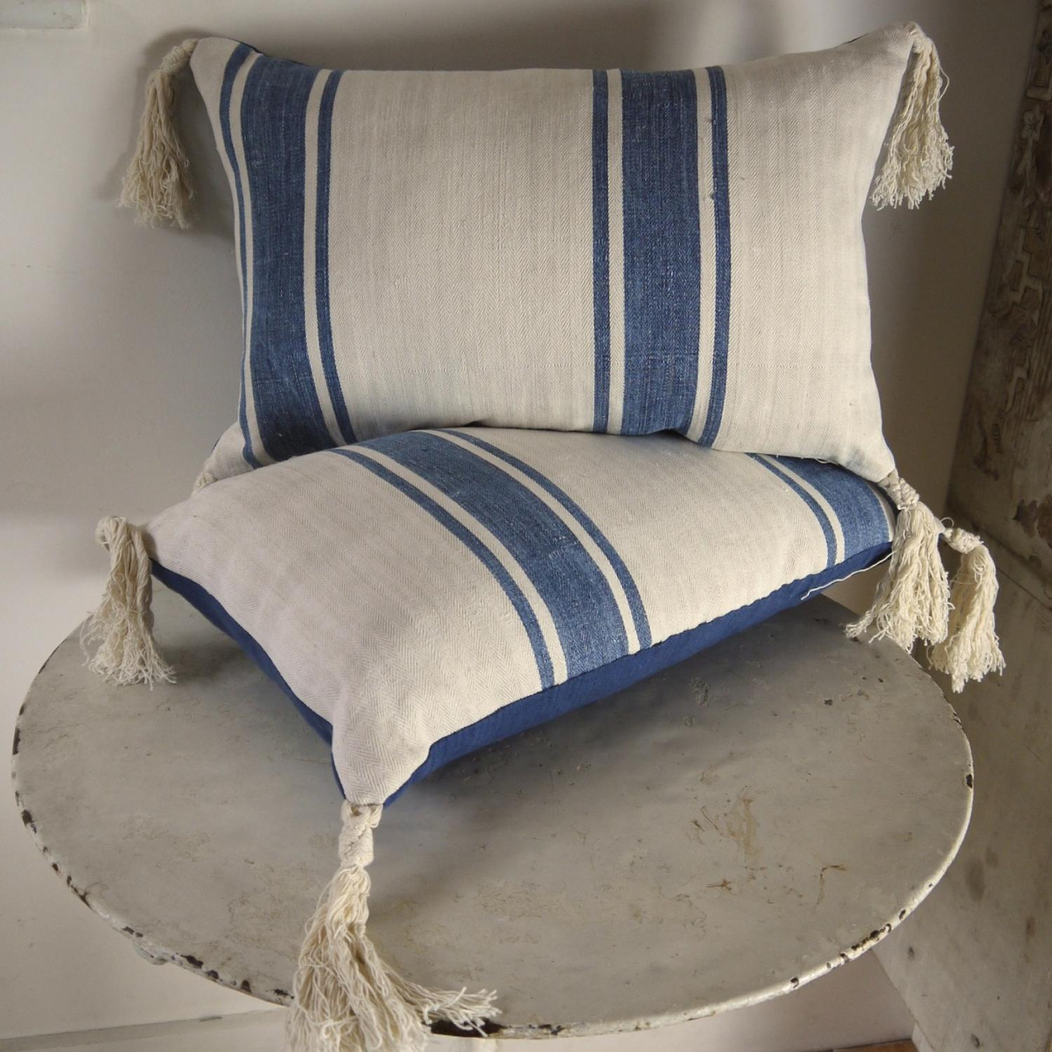 Pair of French Indigo Striped Linen Cushions