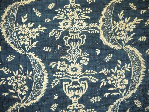18th century French Indigo Resist Quilt