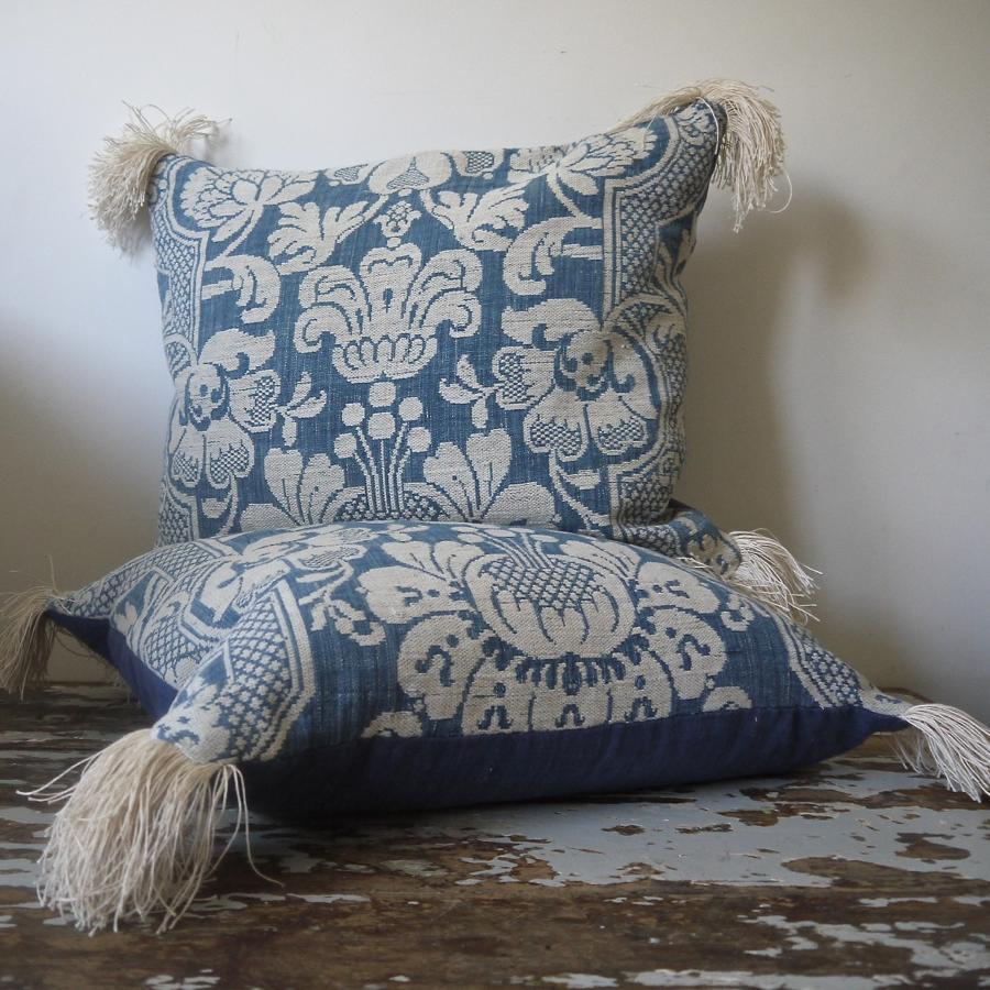 Pair of 18th century French Linen Cushions