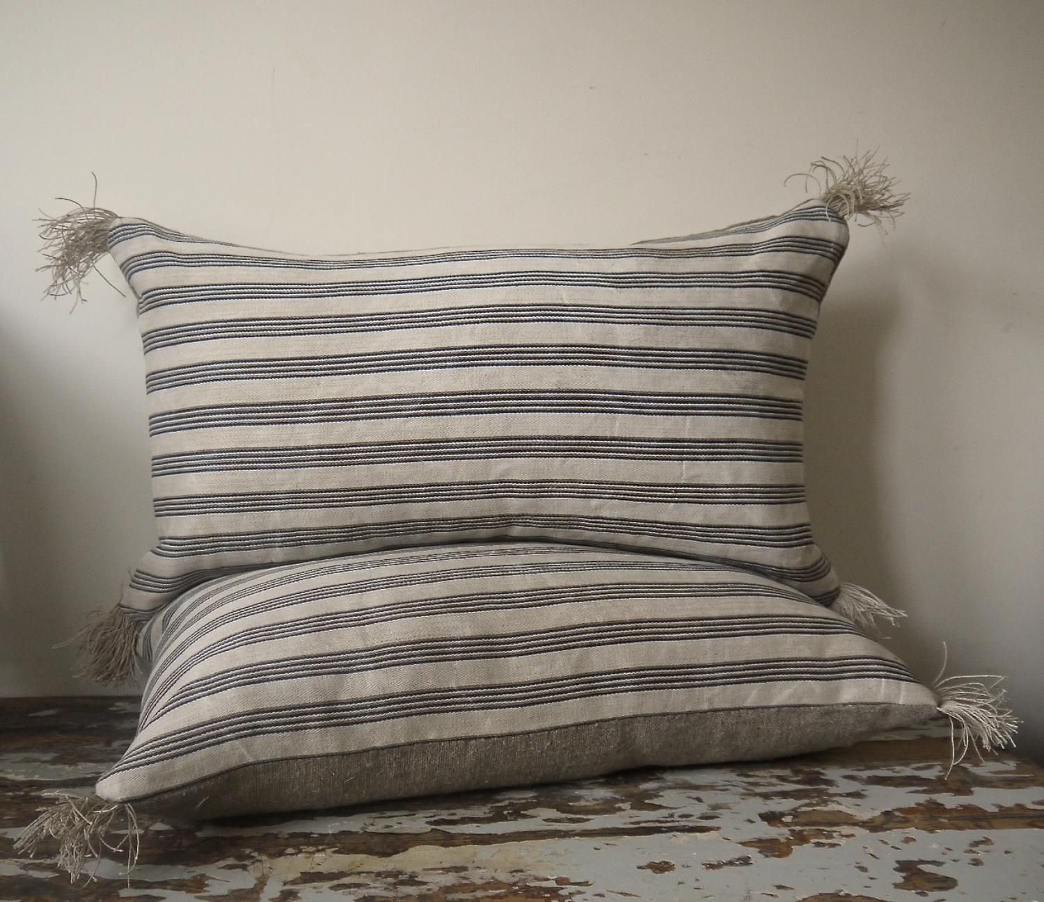 Pair of 19th century Danish Striped Cushions