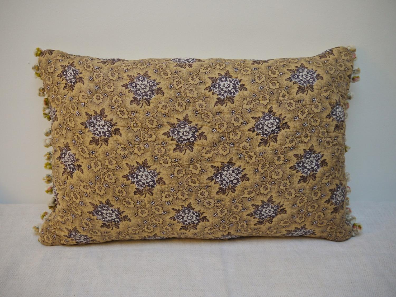 19th centruy French Purple Floral Cushion