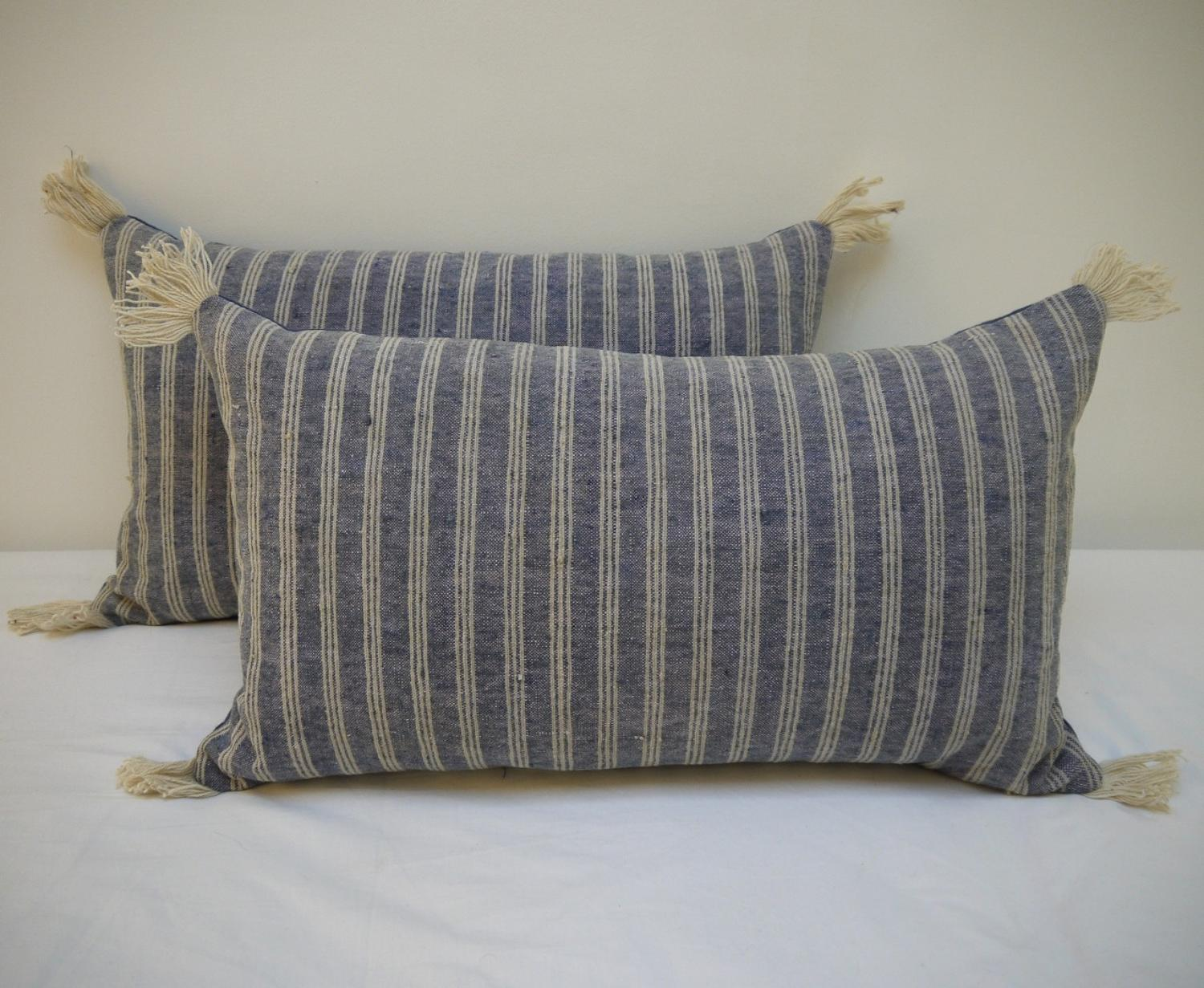 Pair of 19th century French Striped Cushions