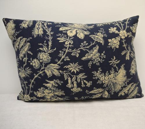 French 19th century Exotic Flowered Cushion