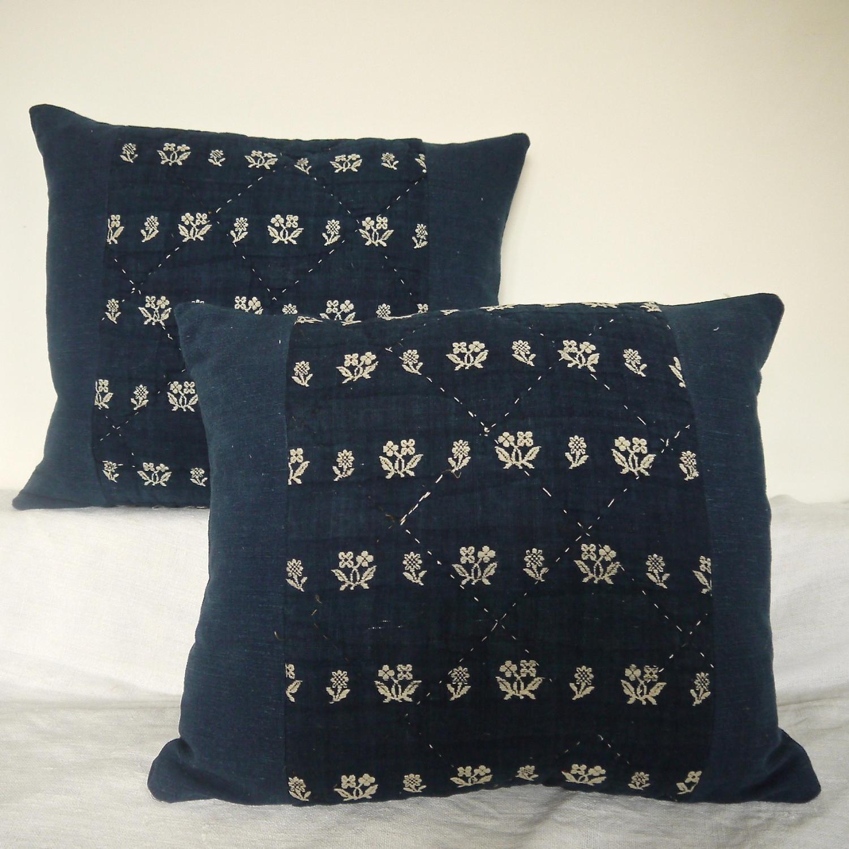 Pair of 18th century French Indigo Cushions