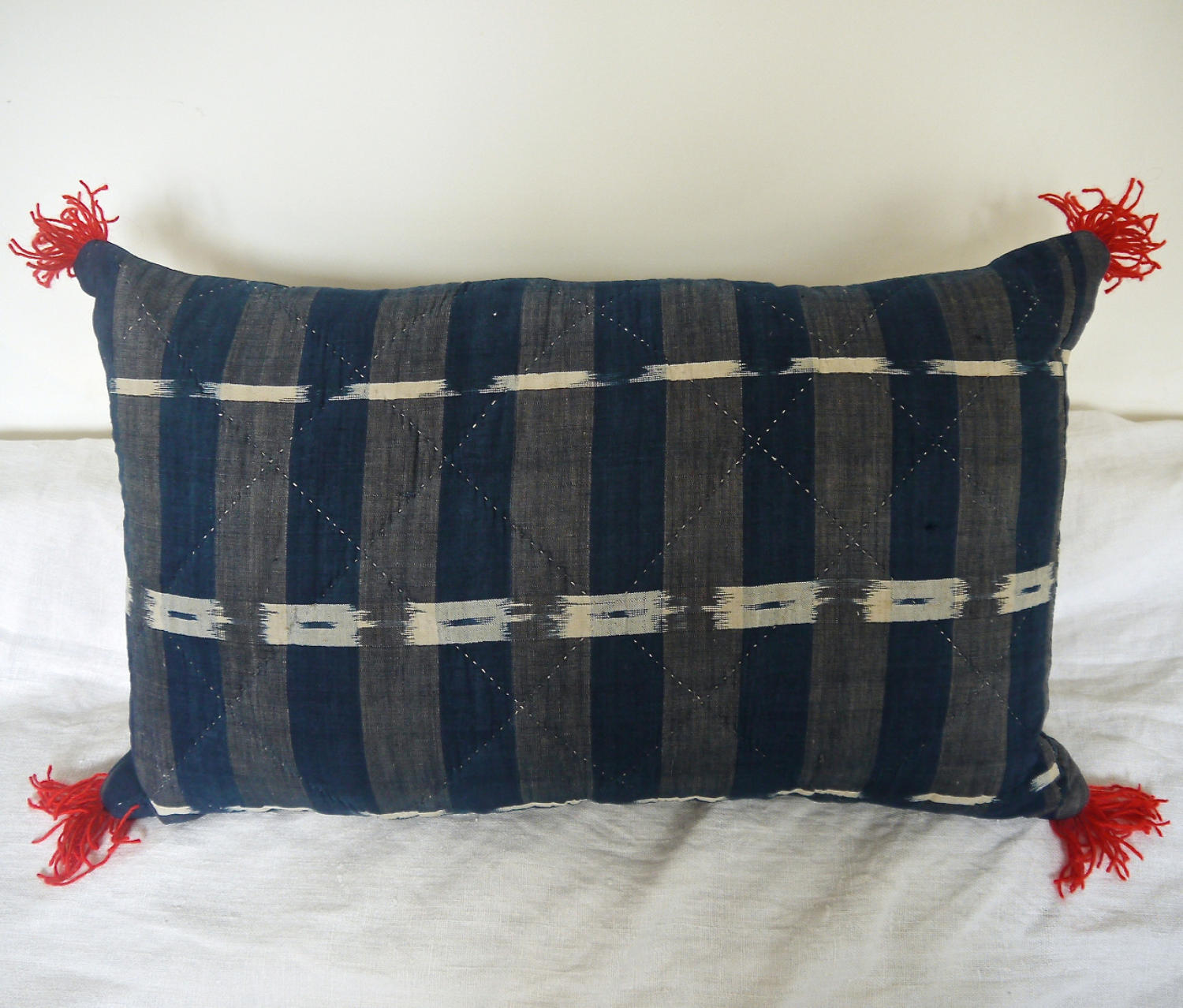19th century French Indigo Flamme Cushion