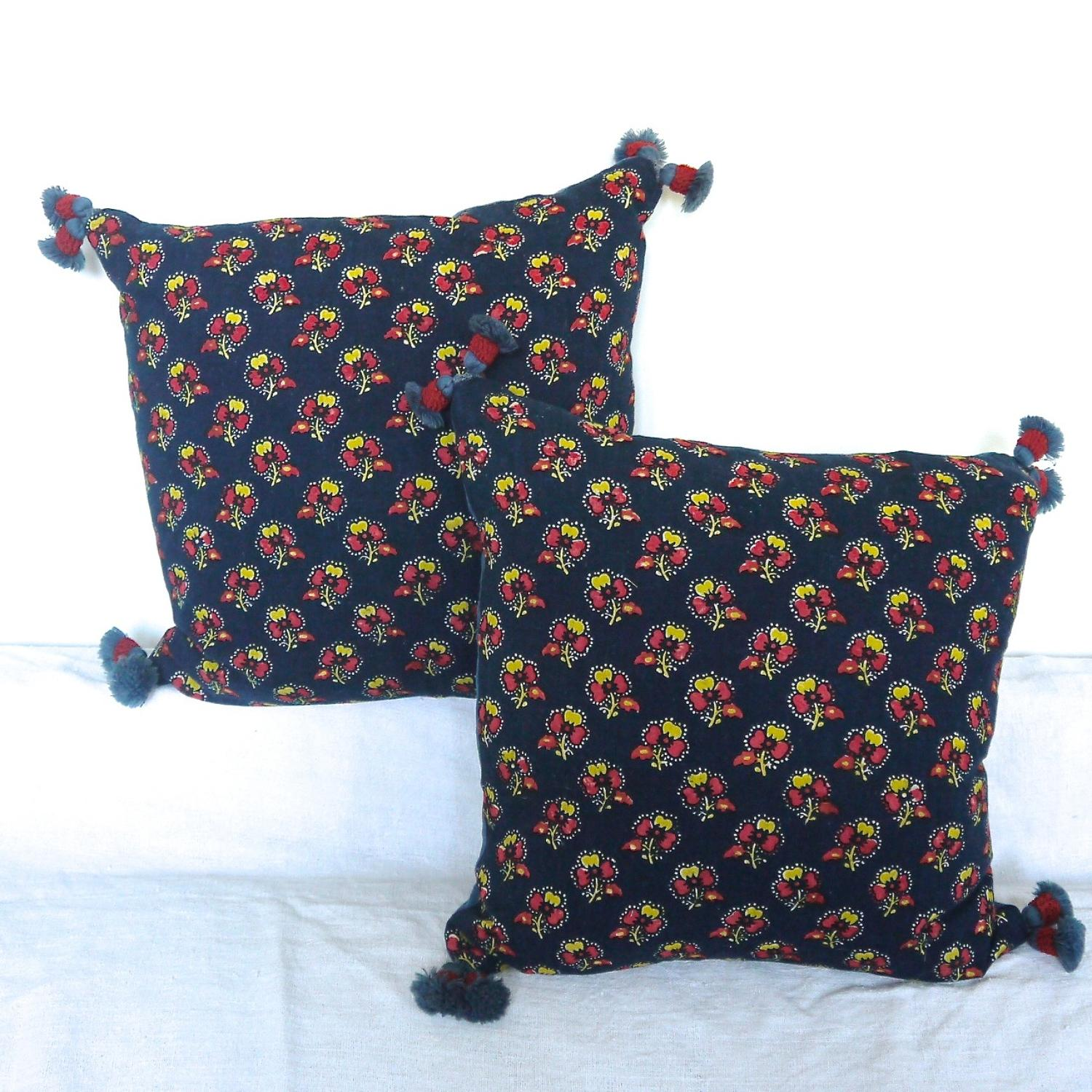 Pair of Antique Indigo Resist Cushions