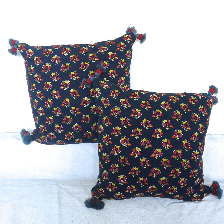 Pair of Antique Indigo Resist Cushions