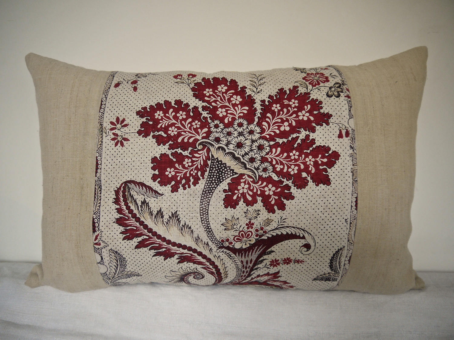 18th Century French La Cornu Fleurie Cushion