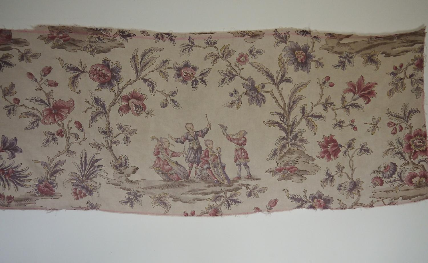 French  Antique Chinoiserie Linen Panel