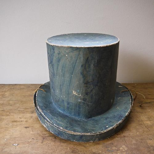 19thc Swedish Blue Papier Mache Top Hat Box