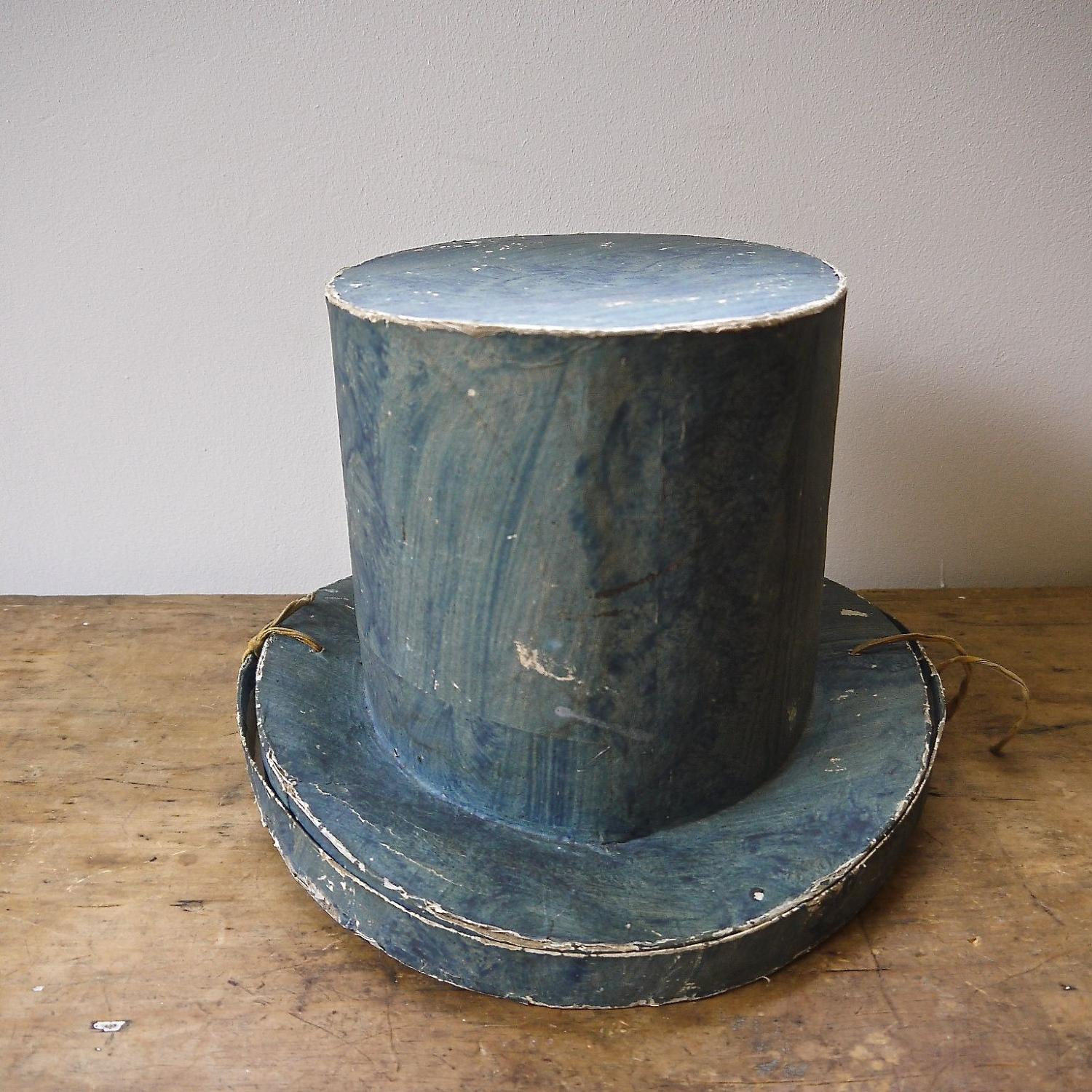 19thc Swedish Blue Papier Mache Top Hat Box