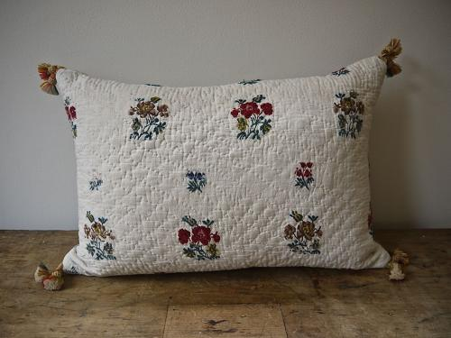 18thc French Wool Floral Motifs Linen Cushion
