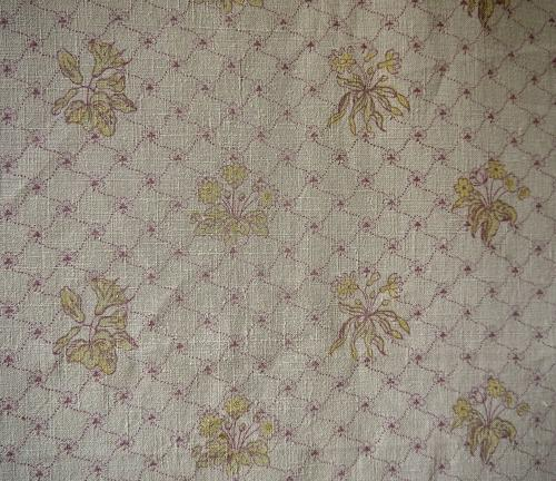 Late 19thc French Yellow Floral Faded Linen