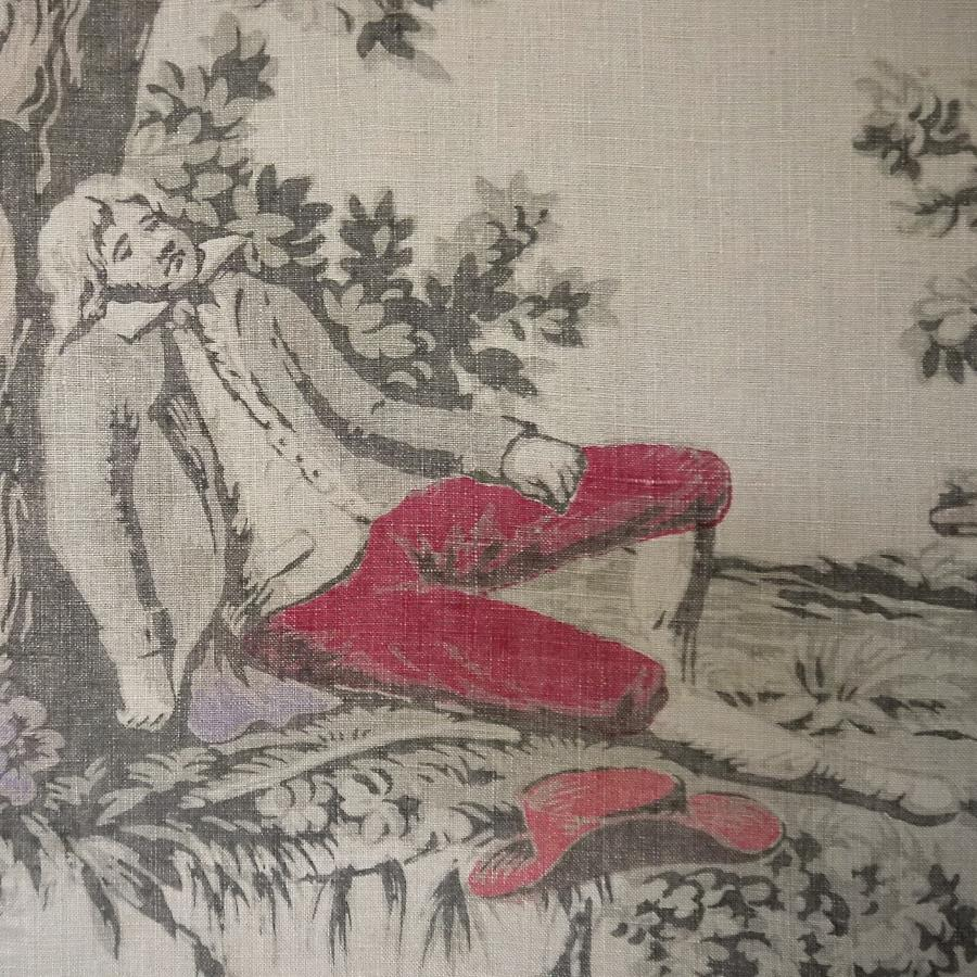 19thc French Sleeping Figure Linen Toile