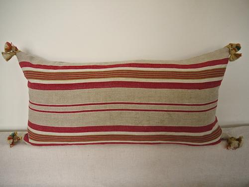French Striped Linen Ticking Cushion