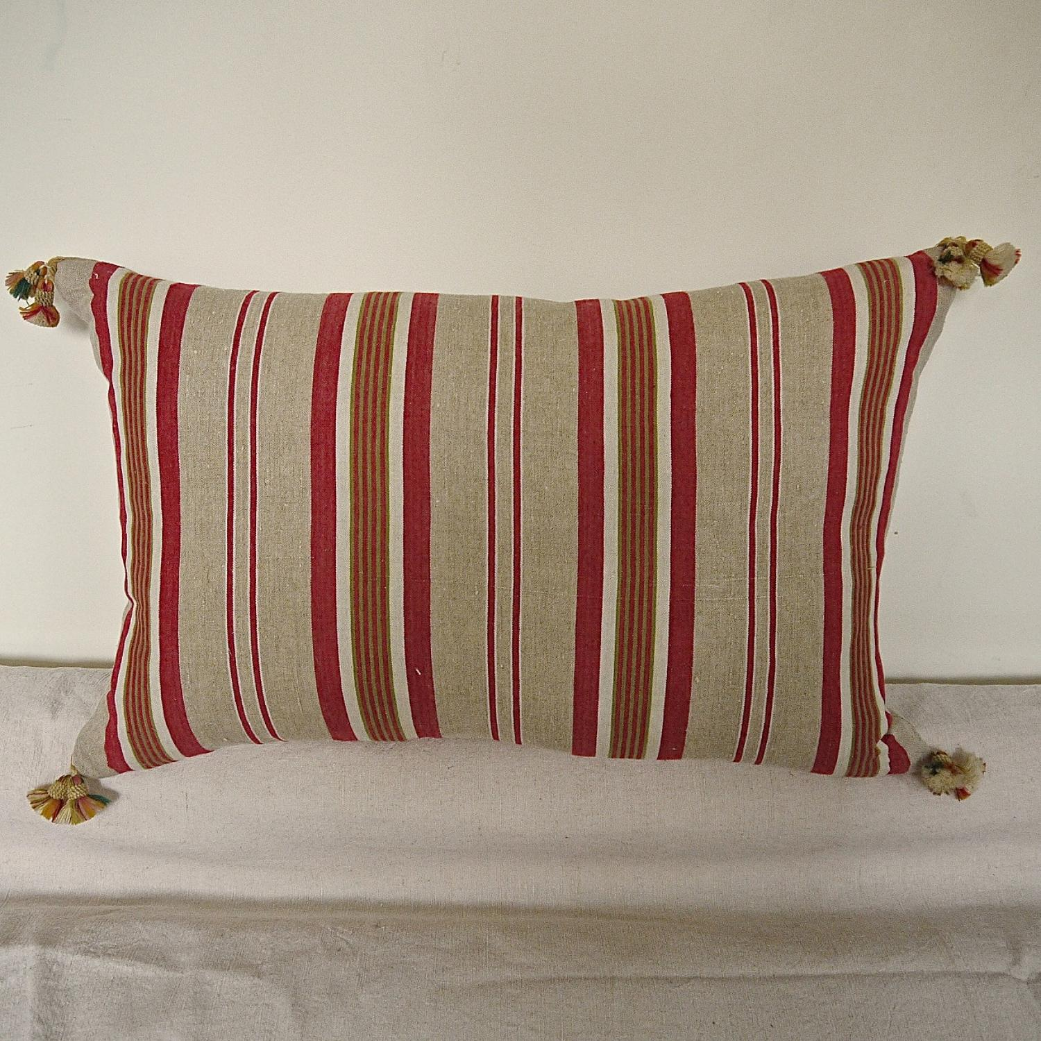 C1900s French Striped Linen Ticking Cushion In Cushions
