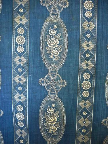 19th French Blue Roses Cotton Textile