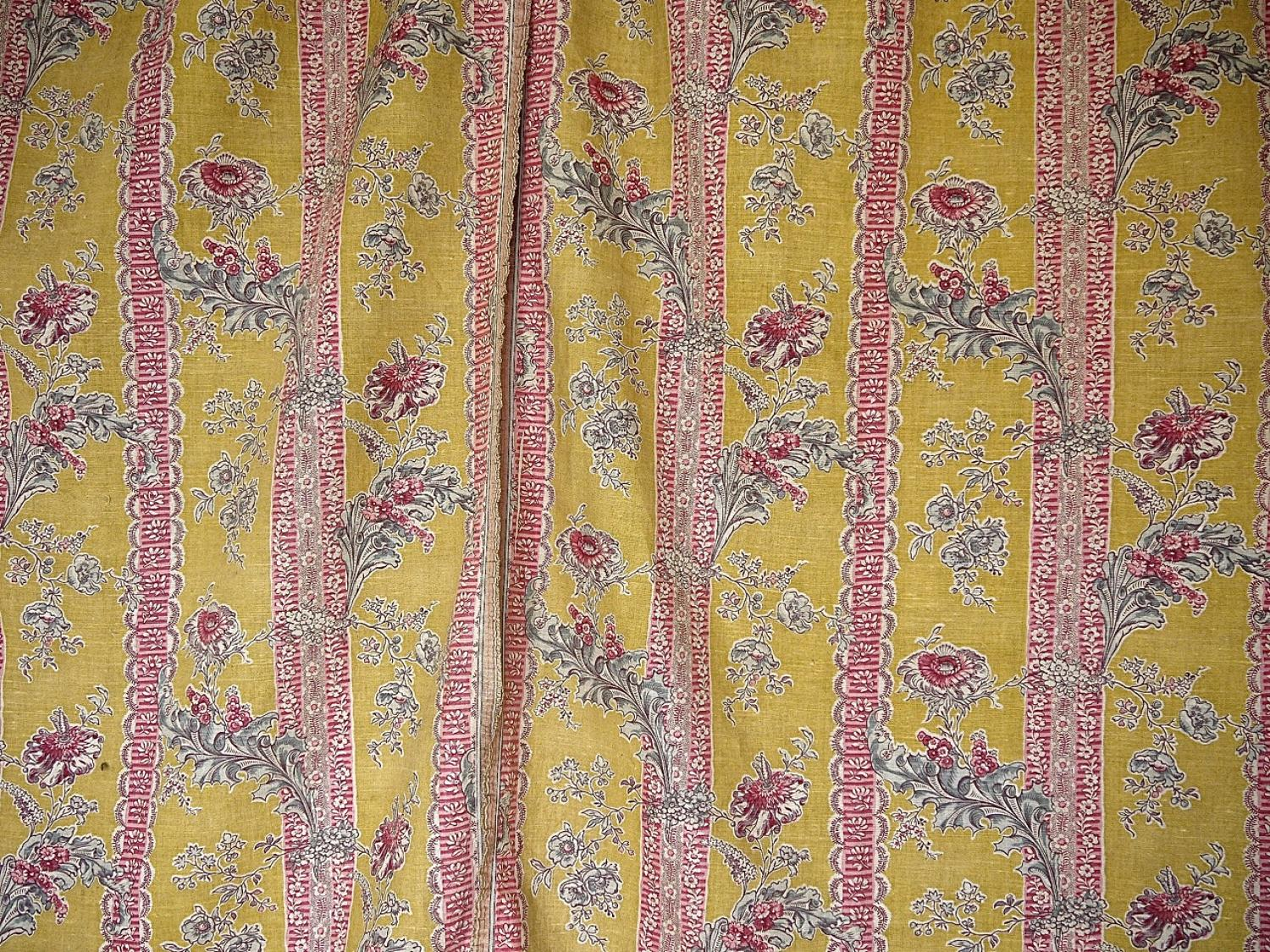 Pair of 19thc French Floral Linen Curtains