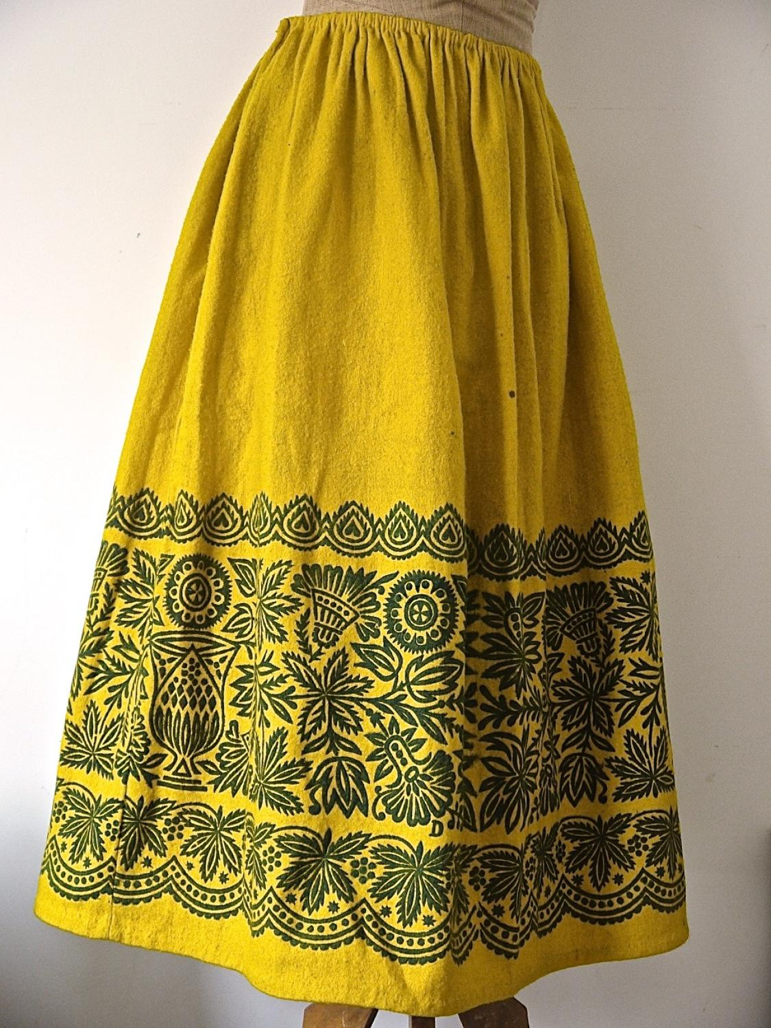 19th century Spanish Yellow Wool Skirt