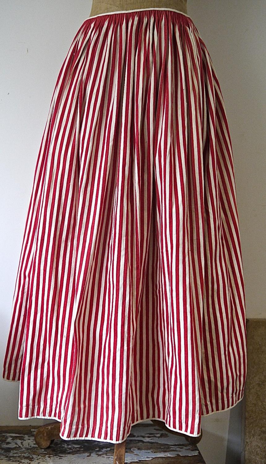 19th century French Red Striped Cotton Jupon