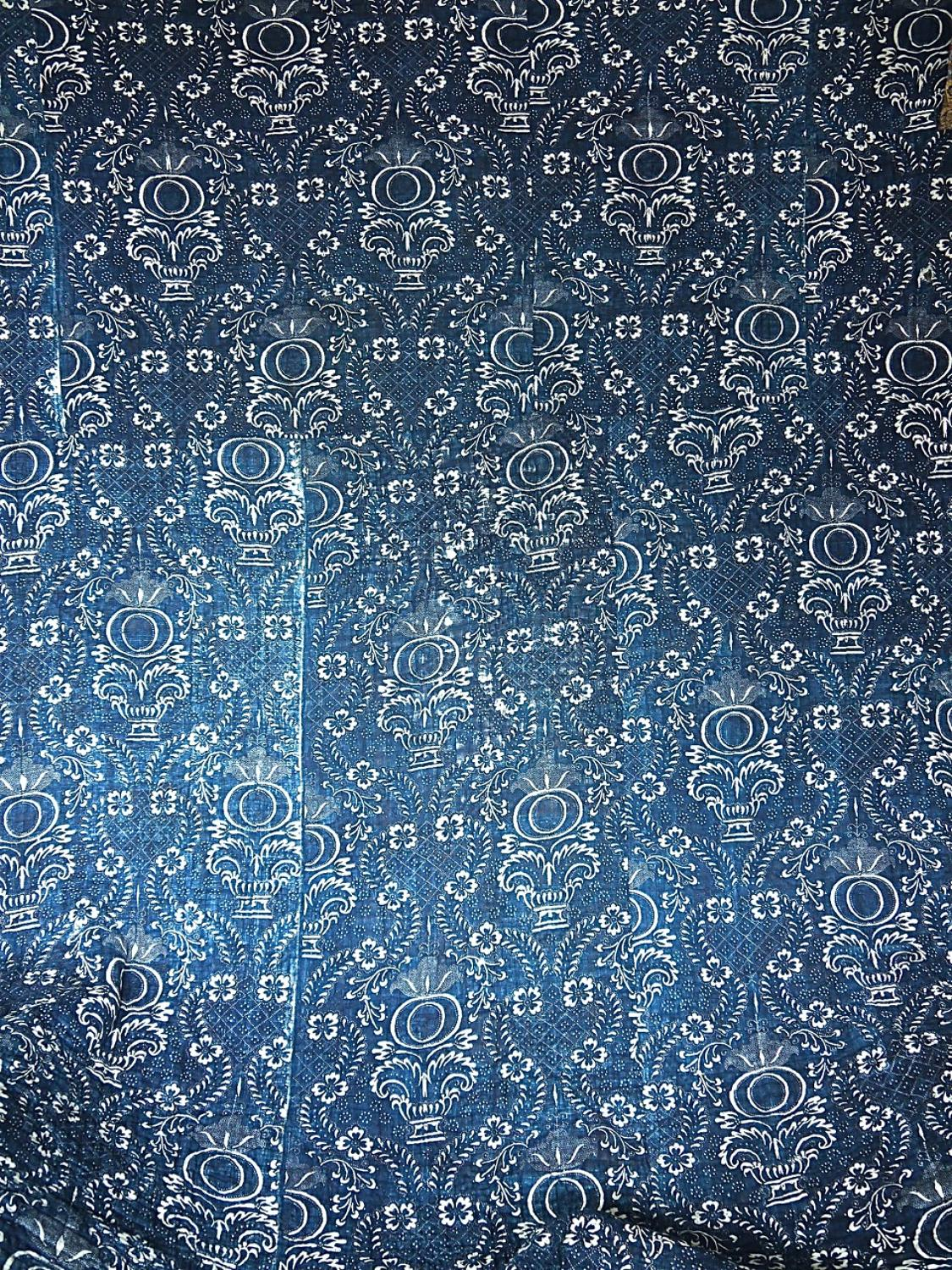 Late 18thc French Indigo Resist Cotton Quilt