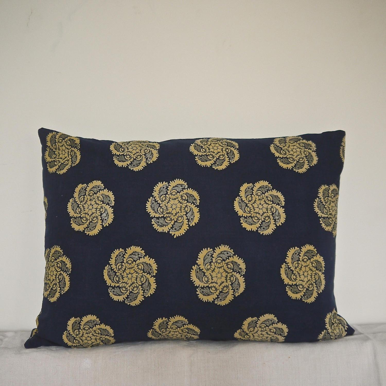 19thc French Empire Pale Saffron and Indigo Cushion