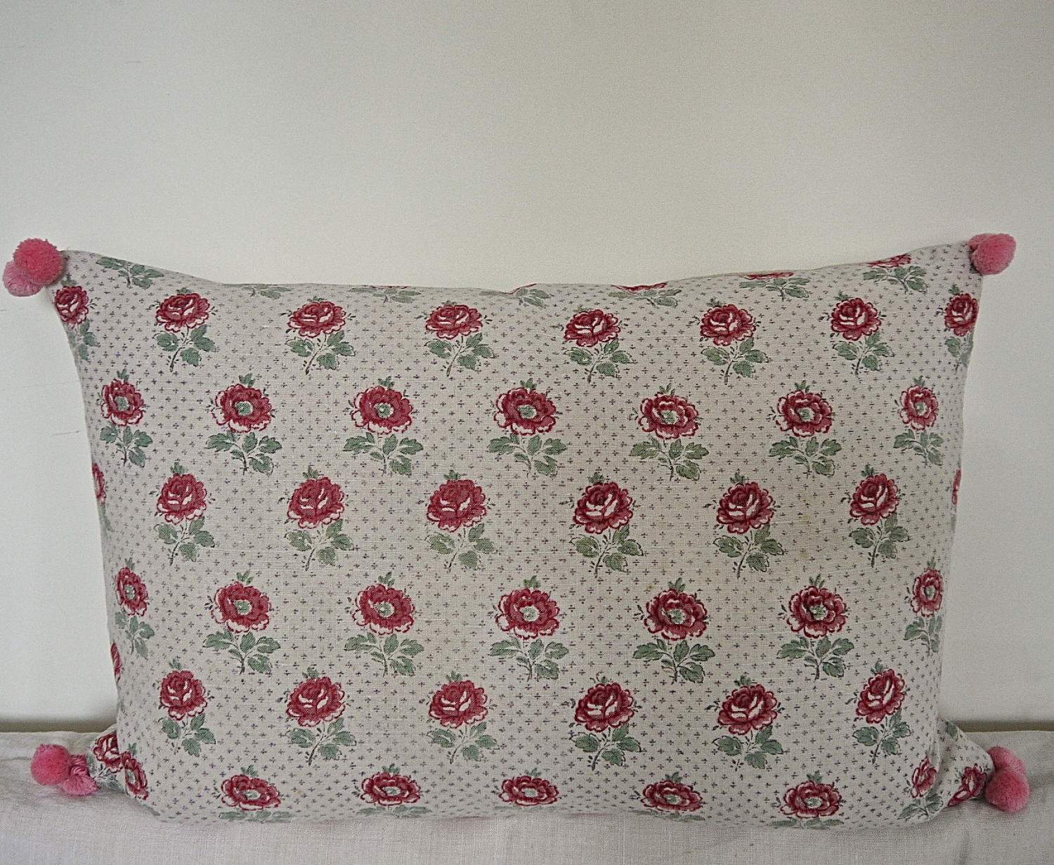 Late 19th Century French Printed Roses Linen Cushion