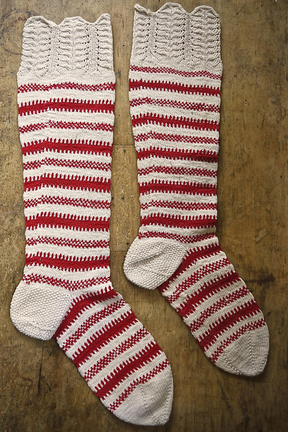 1900s French Red Striped Knitted Socks
