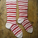 1900s French Red Striped Knitted Socks - picture 5