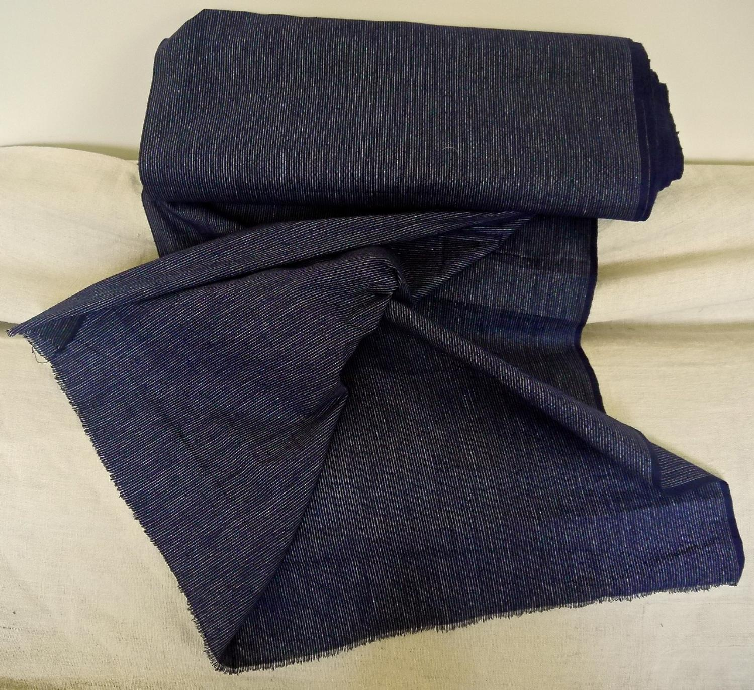 French Early 20thc Roll of Unused Striped Indigo Cloth