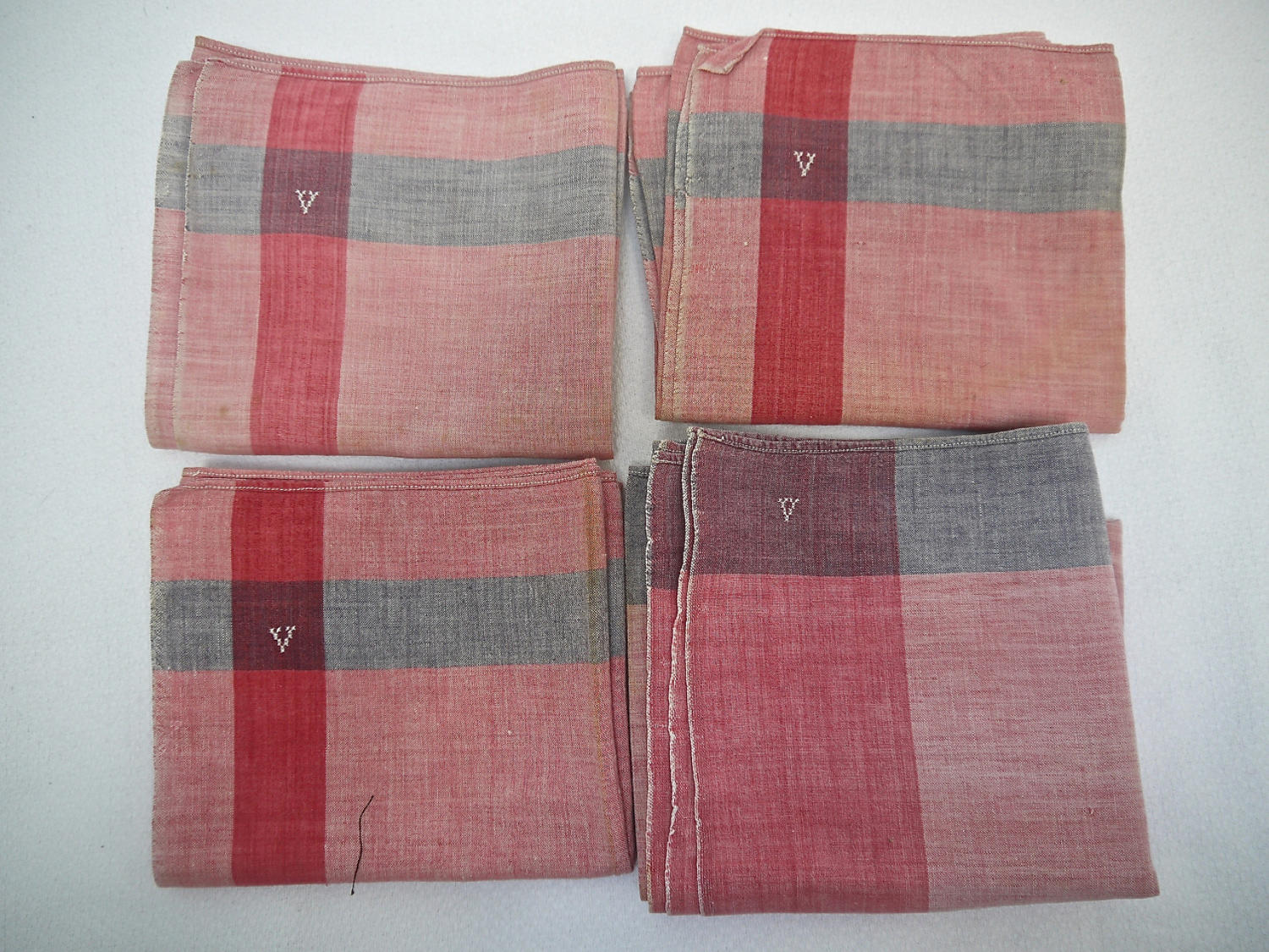 Set of Four French 1900s Cotton Mouchoirs