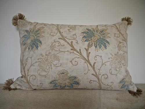 19th century French Indienne cotton cushion