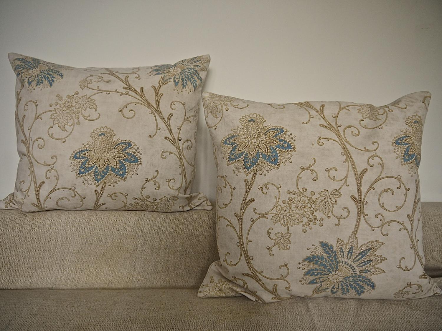 Pair of 19th century French Indienne cotton cushions